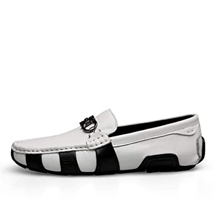 Xiazhi-shoes, Hombres Que conducen Moda Casual Mocasines Personalidad Estilo británico Botón de Metal