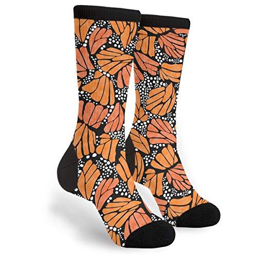 Unisex Fun Novelty Crazy Crew Socks Orange Monarch Butterfly Dress Socks]()