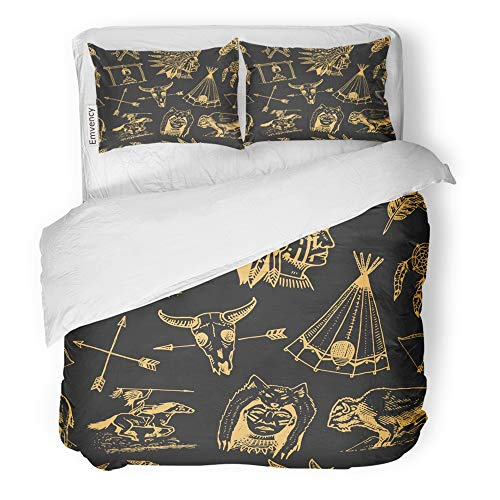 Emvency Decor Duvet Cover Set Full/Queen Size Indian Native American Buffalo Axes and Tent Arrows and Bow Skull Dreamcatcher 3 Piece Brushed Microfiber Fabric Print Bedding Set Cover