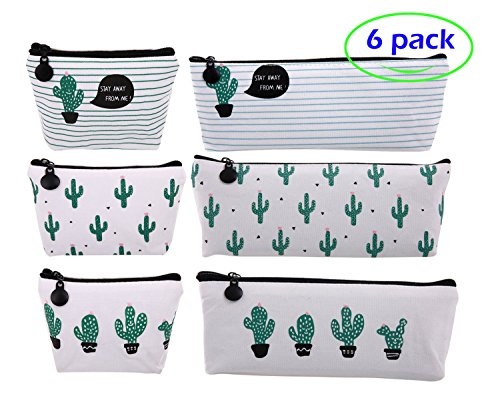 F-sport 6 Pack Canvas Pencil Cases Cactus Design, Cosmetic Makeup Bag, Perfect Pencils Coins Bank Cards Keys & Cell Phones