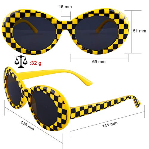 b07b1b669b2 SIQUK 8 Pairs Clout Goggles Retro Oval Mod Thick Frame Sunglasses for Girls  Boys
