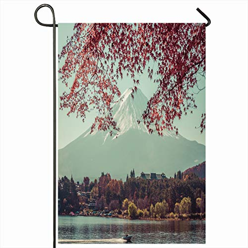 Ahawoso Seasonal Garden Flag 12x18 Inches Natural Blue Autumn Red Maple Leaf Mt Fujivintage Nature Fujisan Asian Vintage Capped Clear Copy Home Decorative Outdoor Double Sided House Yard Sign