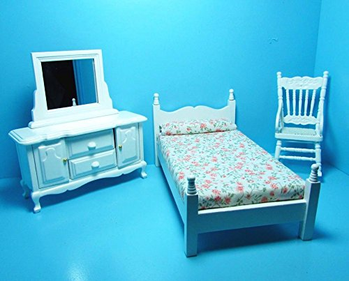 Dollhouse Miniature Bedroom Set in White with Dresser & Rocking Chair T - My Mini Fairy Garden Dollhouse Accessories for Outdoor or House - Magic Rocking Chair Garden