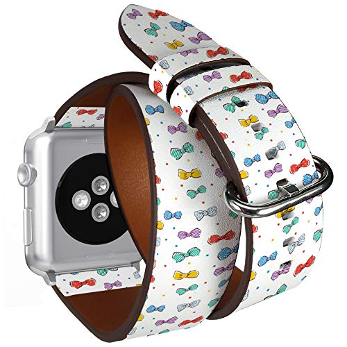 (Compatible with Apple Watch (Big 42mm/44mm) Series 1,2,3,4 - Double Tour Bracelet Strap Wristband Smart Watch Band Replacement - Vintage Ribbons Bows)