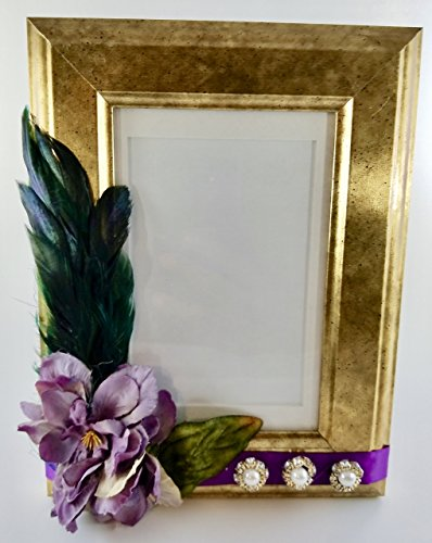 Antiqued Gold Photo Frame - Peacock Feathers 4x6""