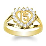 JamesJenny Ladies 14K Yellow Gold 15 Anos Quinceanera Beautiful Heart Ring Size 7.5