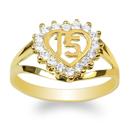JamesJenny Ladies 14K Yellow Gold 15 Anos Quinceanera Beautiful Heart Ring Size 7.5 by JamesJenny