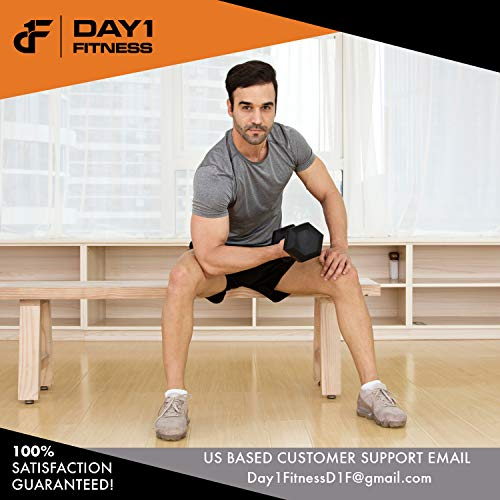 Day 1 Fitness Rubber Hex Dumbbell Shaped Heads to Prevent Rolling and Injury - Ergonomic Hand Weights for Exercise, Therapy, Building Muscle, Strength and Weight Training - 10 lb Single