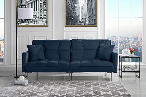 Modern Plush Tufted Velvet Splitback Living Room Futon ()