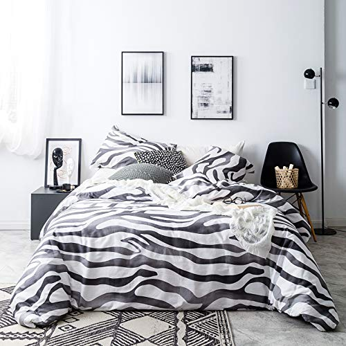 SUSYBAO 3 Piece Duvet Cover Set 100% Natural Cotton Queen Size Zebra Print Bedding Set with Zipper Ties 1 Black and White Animal Print Duvet Cover 2 Pillowcases Luxury Quality Soft Modern Lightweight (Animal Luxury Bedding Print)