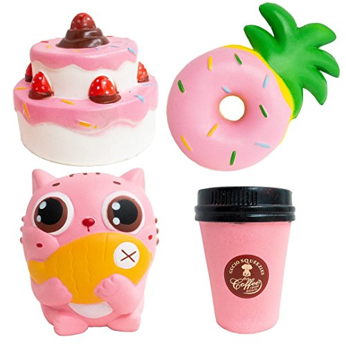 - SQUISHYBUDDY ECO Friendly Slow Rising Stress Relief Cute Jumbo Squishy Toys , Pack of 4 Including Pink cat, Donut, Coffee Cup, Two Layers Strawberry Cake Great Gift for Christmas, Parties.