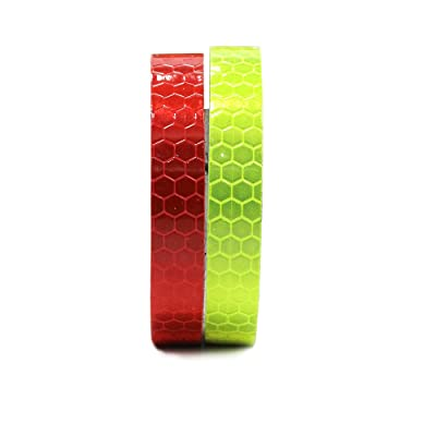 """2Pcs 1cmx5m(0.4""""x196"""") Honeycomb Self-Adhesive Safety refelctive Tape Warning Tape Reflector Tape Security Marking Tape Waterproof for car/trailers/truck/traffic/Construction site(Red,Light-Green): Automotive"""