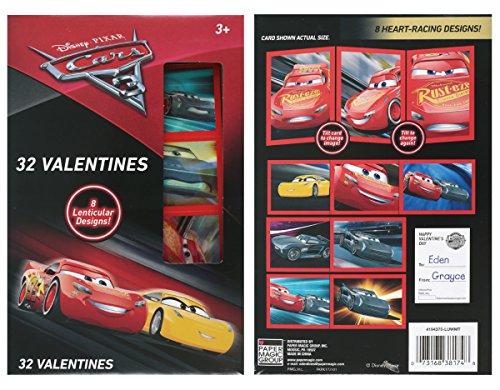 Disney Cars 3 Lenticular Valentine Cards 32 Count