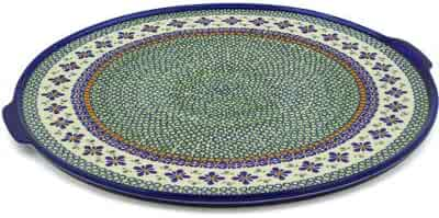Polish Pottery Pizza Plate 17-inch Gingham Flowers