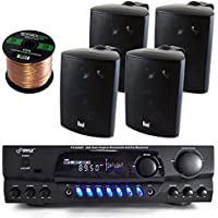 Pyle PT265BT Bluetooth 200 Watt Digital Karakoe Receiver Amplifier Bundle Combo With 4x Dual LU43PB 100-Watt 3-Way Black Indoor/Outdoor Speakers + Enrock 50 Foot 16g Speaker Wire
