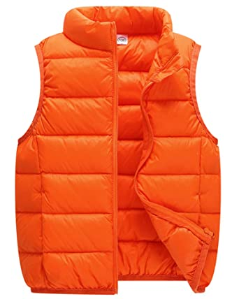 7f2adadace649 Gilet Doudoune Enfants Fille Garçon Léger Veste Blouson Hiver sans Manche  Manteau Orange 80cm