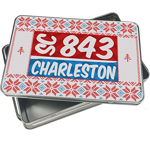 (NEONBLOND Cookie Tin Box 843 Charleston, SC red/blue Vintage Christmas)
