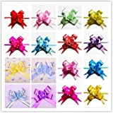AUCH 100Pcs Elegant Festival Assorted Colors PVC Pull Bows/Christmas Gift Knot Ribbon Strings for Gift Wrapping or Floral Decoration, Random Color, 3*48cm