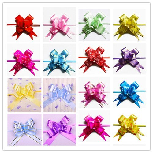 UDTEE Elegant/Beautiful/Festival Medium Size Red/Pink/Rose/Yellow/Green/Blue/Purple Color(Random Colors) PVC Pull Bows/Christmas Gift Knot with Ribbon Strings to Wrap the Box or Floral Decoration,Pack of 100