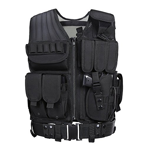 Swat Tactical Vest Costume (GZ XINXING Tactical Airsoft Paintball Combat Military Swat Assault Army Shooting Hunting Outdoor Molle Police Vest With Pistol Holster)