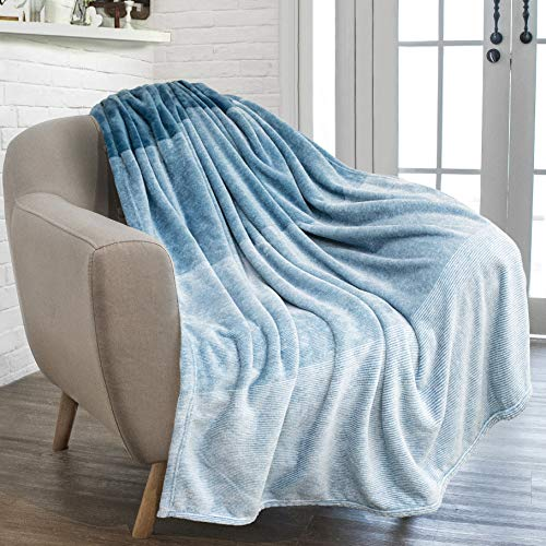 Blue Throw Blanket - PAVILIA Flannel Fleece Luxury Throw Blanket | Lightweight Soft Microfiber Gradient Ombre Blanket | Decorative Velvet Throw for Couch Sofa Bed | All Season Use | 50 x 60 Inches Blue Turquoise