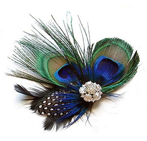 Meditative Rose Lady Girl Cute Peacock Feather Hair Clip (For Hair Feathers Kids)