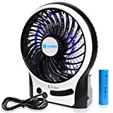 small 3 speed fan - Qidianliang Portable Rechargeable Personal Fan, 3 Speeds Desk Table fan, Mini USB Fan for Laptop/Desktop, Outdoor Small Fan with LED Light