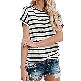 Women Short Sleeve Fashion Tops Block Stripe T-Shirt Casual Blouse Black