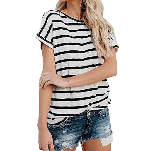(LISTHA Long Sleeve Striped Tops for Women Round Neck T-Shirt Casual Blouses Pullover)