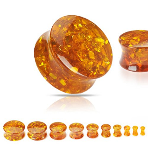 Freedom Fashion Synthetic Amber Solid Saddle Plugs (Sold by Pair)