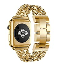 For Apple Watch Series 2 / 1 42mm Bands, Gotd Replacment Accessories Stainless Steel Bands Bracelet Strap Band for Apple Watch Series 1/2 42MM (Gold)