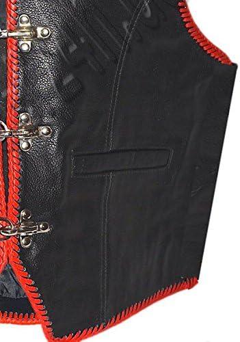LEDER24H Schwarze Motorradweste rot geflochten aus Leder 1058-SP