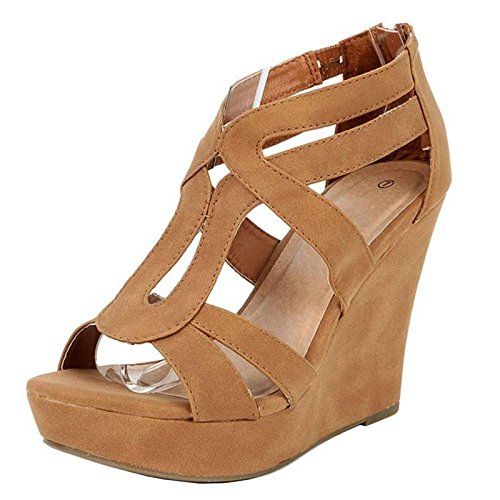 JJF Shoes Top Moda Women's Strappy High Heel Platform Wedges Sandals Tan 10 B(M) US