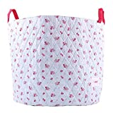 Minene Large Storage Basket Blue with Flowers - floral storage baskets, round storage baskets, large fabric storage basket - great for toy storage, kids storage and as a laundry hamper by Minene