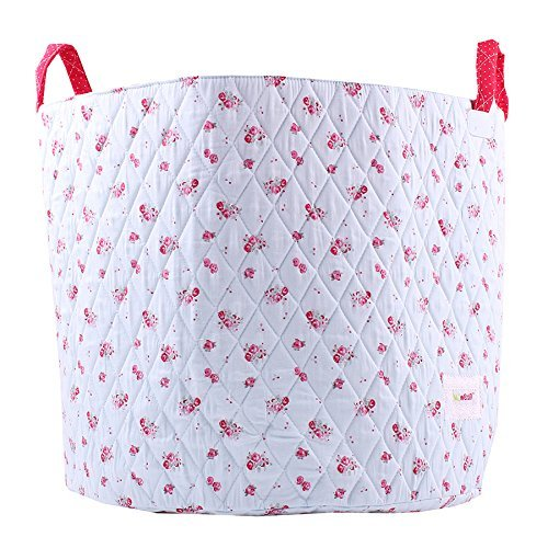 Minene Large Storage Basket Blue with Flowers - floral storage baskets, round storage baskets, large fabric storage basket - great for toy storage, kids storage and as a laundry hamper by Minene by Minene