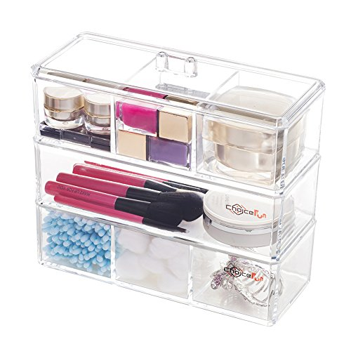 3 Tiers Acrylic Makeup Organizer Storage Tray Multifunctional Clear Choice Fun