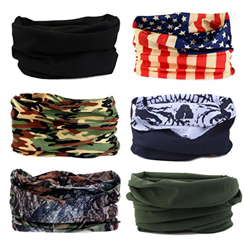 Toes Home 6PCS Outdoor Magic Headband Elastic Seamless Bandana Scarf UV Resistence Sport Headwear
