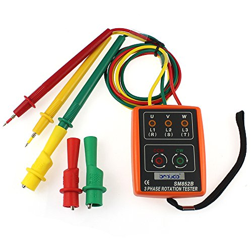3 Phase Rotation Meter (SM852B 3 Phase Sequence Rotation Tester LED Indicator Detector Checker Meter)