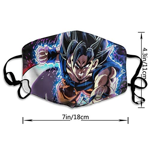 NiYoung Anti-Allergens Adjustable Elastic Band Mouth Mask for Boys Girls Adults, Dragon Ball Z Anime Goku Cosplay Warm Respirator for Dust, Medical, Cycling - Washable