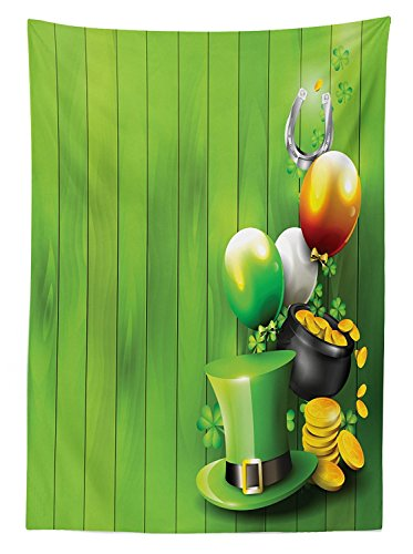 St. Patricks Day Tablecloth Wood Design with Shamrock Lucky Clovers Pot of Gold Coins and Horse Shoe Dining Room Kitchen Rectangular Table Cover Fern Green ()