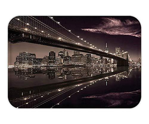 ABOUtshoc Apartment Decor Set Brooklyn Bridge Sunset New York Manhattan Skyline Tourist Attraction Modern City Picture Bathroom AccessorieMaroon and Plum Door Mat Bath Rug with Non-Slip -