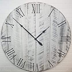 Large Wall Clock – 42 Inch Diameter – White with black undertones - Wooden Clock by Yankee Woodworks