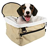 Acccity Soft Pet Dog Puppy Cat Kitty Car Booster Seat Carrier Car Leash Bag (13'' x 9.84'' x 7.87'', Beige)