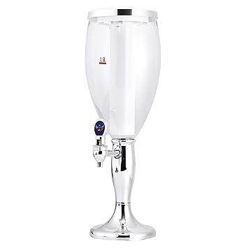 BESTONZON Dispensador de Cerveza refrescante Mesa de Vino Cerveza Torre Dispensador de Jugo de Bebidas con Luces de Colores Brillantes de LED 1.5 L de ...