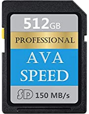 Digitale SDXC-kaart 512GB Class 10 SD Memory Card High Speed tot 150MB/s voor DSLR-camera's, HD camcorders en 3D-camera's (512GB)