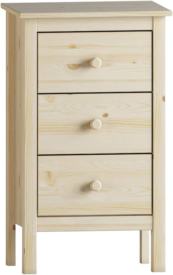 Extra Tall Solid Wood Nightstand with 3 Drawers (Unfinished)