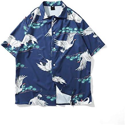 DXHNIIS Crane Street Shirt Hombres Verano Nuevas Camisas de Moda Camisas con Cuello Vuelto para Hombres M Camisa Azul: Amazon.es: Deportes y aire libre