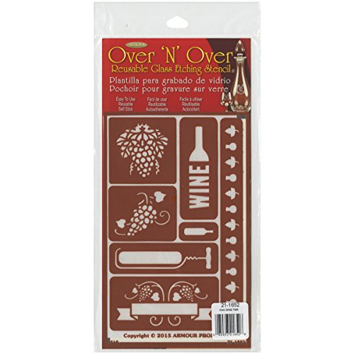Armour Products 21-1652 Over N Over Glass Etching Stencil, 5-Inch by 8-Inch, Wine Time (Etching Stencil)
