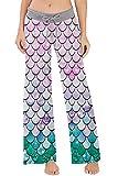 Women's Palazzo Pajama Pants Dinosaur Mermaid Fish Scale Lounge Sleep Trousers