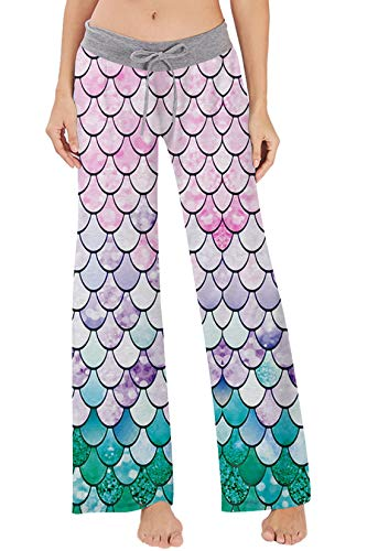 Women's Casual Pajamas Pants Sequin Rainbow Mermaid Fish Scale Summer Wide Leg Palazzo Lounge Pants High Waisted Drawstring Comfy Sleepwear Trousers Pyjamas -